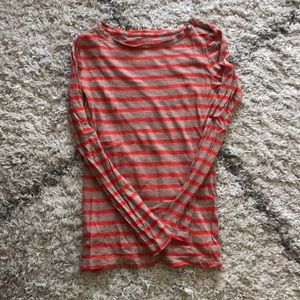 Loft red and brown striped long sleeve tee